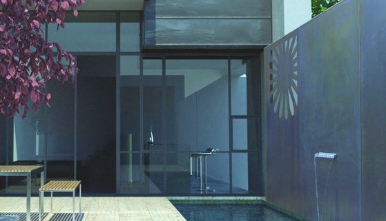 Designwand, Wasserspiel, Stahl, verzinkt