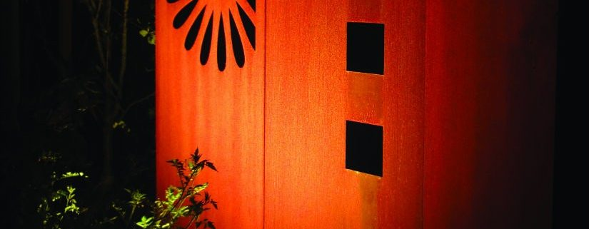 Cortenstahl, Designwand, Beleuchtung